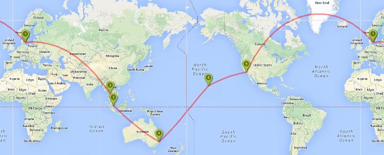 Jorden rundt på 24 dage for kun kr. 8.208: København – Bangkok – Singapore – Sydney – Hawaii ...
