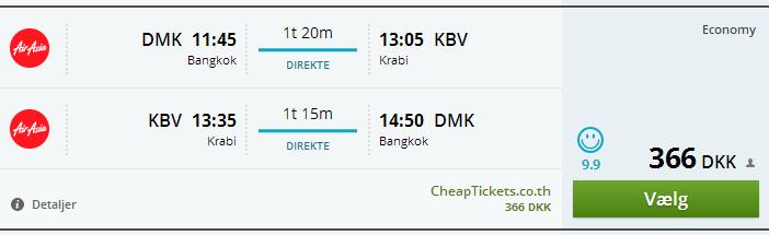 Fly Bangkok Krabi 366 kr