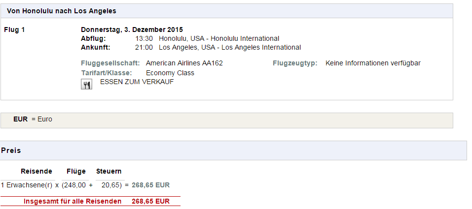 flypris HNL-LAX 268-65 EUR 2004 kr