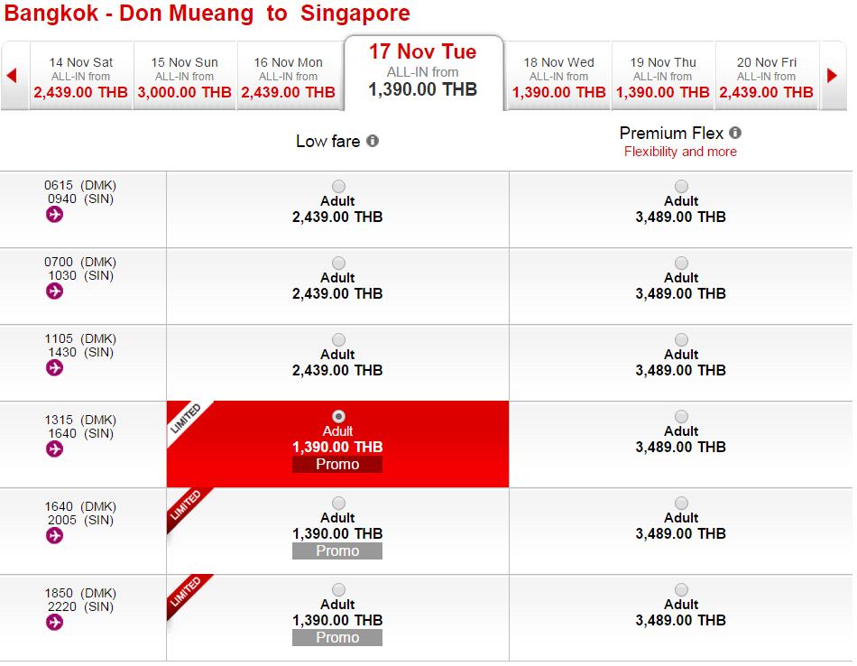 flypris bkk-sin airasia 1390 THB eller dkk 298