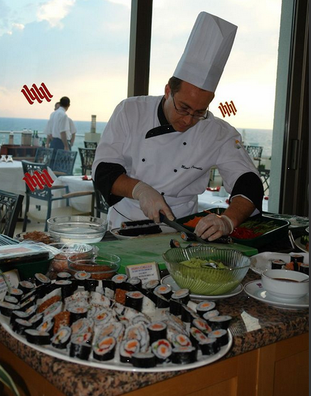 Restauranten serverer specialiteter fra hele verden - bl.a. Sushi